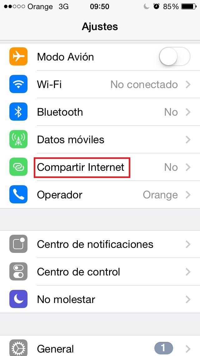 ¿Cómo usar el móvil como router? iPhone Opción 1