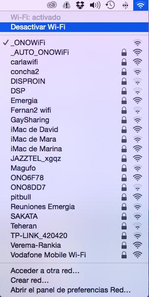 Redes disponibles usar movil como router Mac