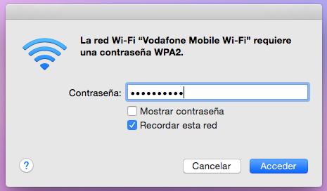contraseña usar movil como router MAC