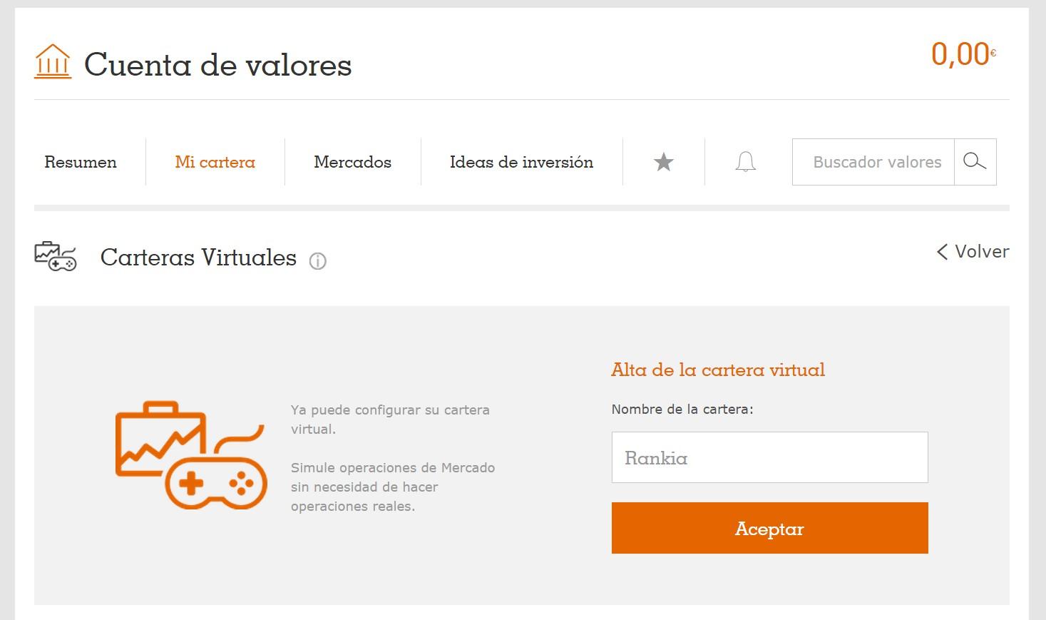 Crear cartera virtual Broker Naranja