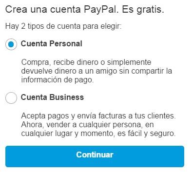 abrir una cuenta personal o business con paypal