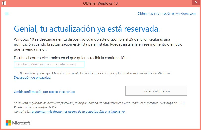 Correo electrónico windows 10