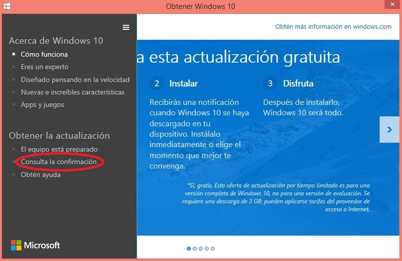 Información actualizacion windows 10