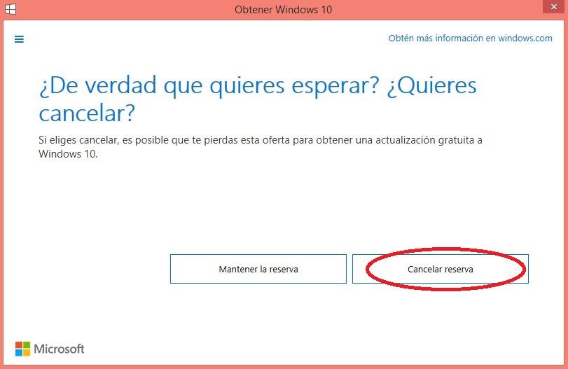 Confirmación cancelación windows 10