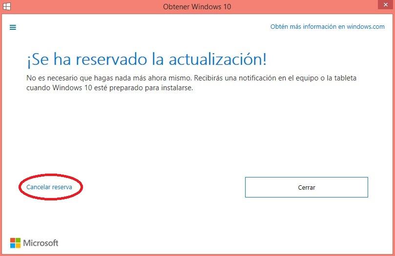 Cancelacion reserva windows 10