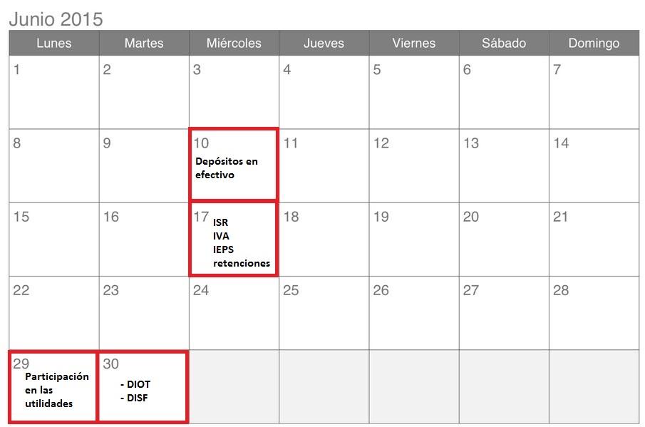 Calendario de impuestos para junio 2015