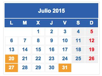 Calendario fiscal Julio 2015