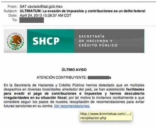 Fraudes con correo falso del SAT
