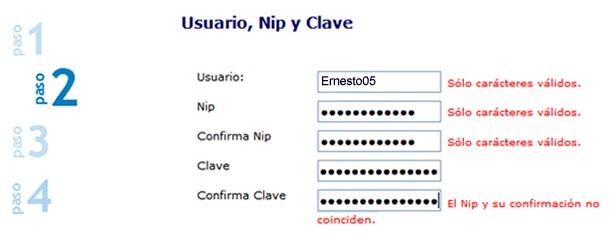 2º Paso: Usuario Nip y Clave