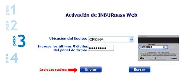 3º Paso: Registro de INBURpass