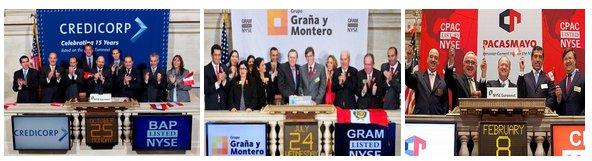 Empresas peruanas: Credicorp, Cementos Pacasmayo y Graña y montero