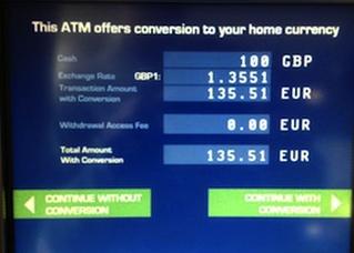 Tipo de cambio que aplican los cajeros automáticos
