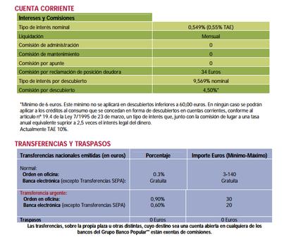 Comisiones Banco Popular-e