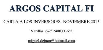 Argos Capital Carta a los inversores