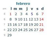 Calendario Laboral Febrero 2016