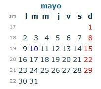 Calendario Laboral Mayo 2016