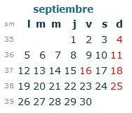 Calendario Laboral Septiembre 2016