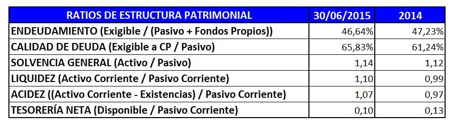 Ratios de Estructura Patrimonial