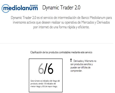 Indicador riesgo productos Banco Mediolanum