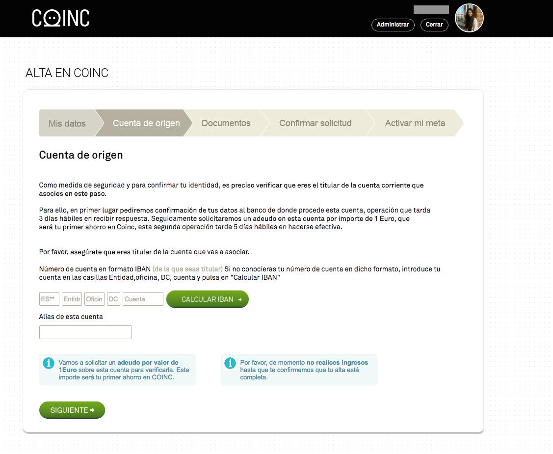 IBAN cuenta corriente asociada a Coinc