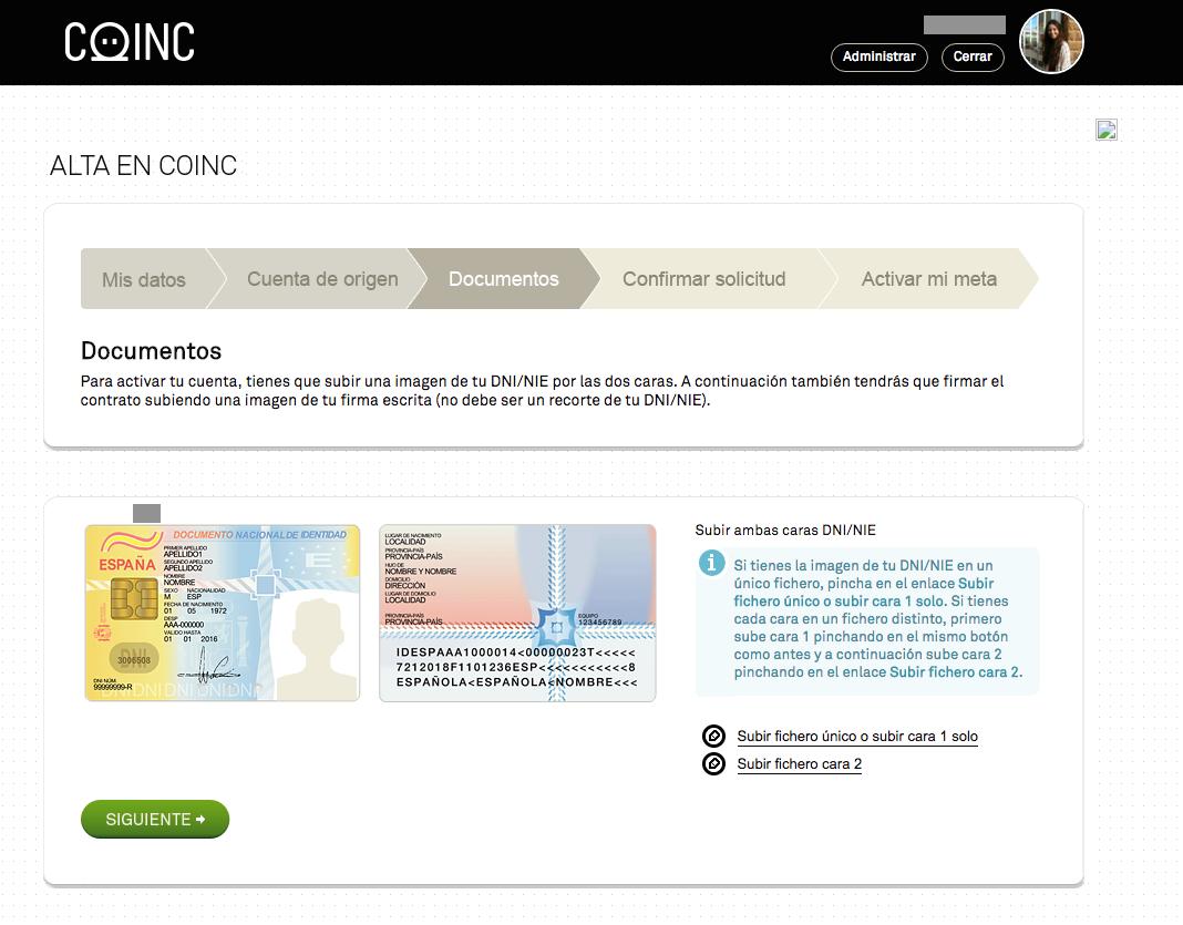 Copia online del DNI cuenta Coinc