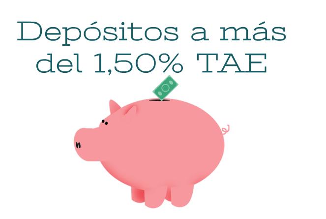 Depósitos a más del 1,50% TAE