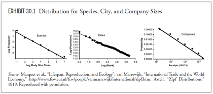 Distribution for speciesm cities and company sizes foro