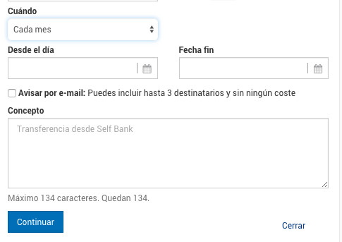 Transferencia periódica selfbank