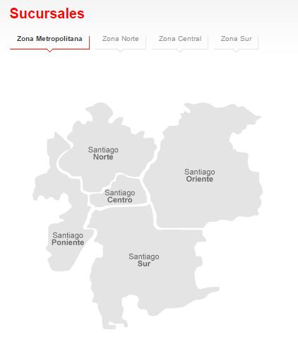 Banco Santander: Mapa sucursales Santiago