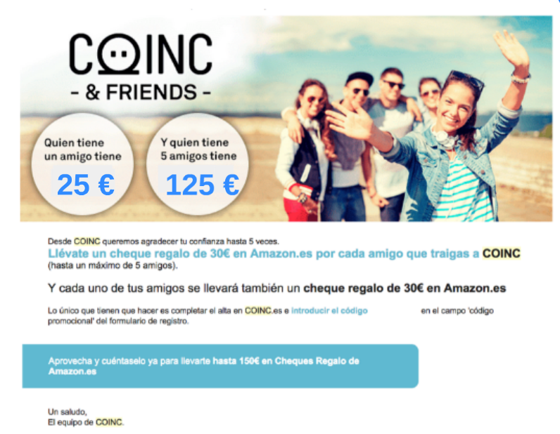 Cuenta Coinc regalo 25€ en cheque Amazon