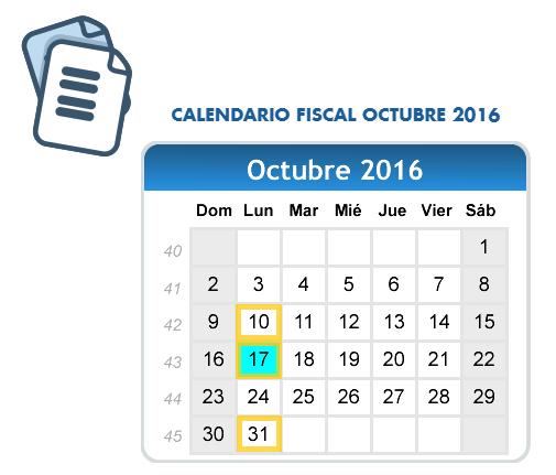 Calendario Impuestos Octubre 2016