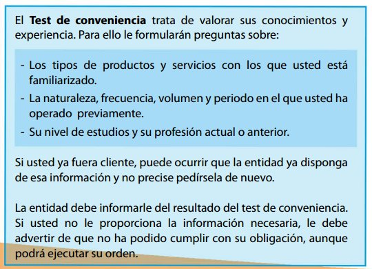 Test de conveniencia, MiFID II