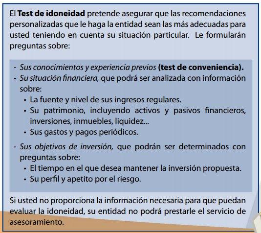 Test de idoneidad, MiFID II