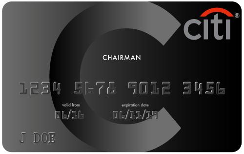 Tarjetas de lujo: Citigroup Black Chairman Card