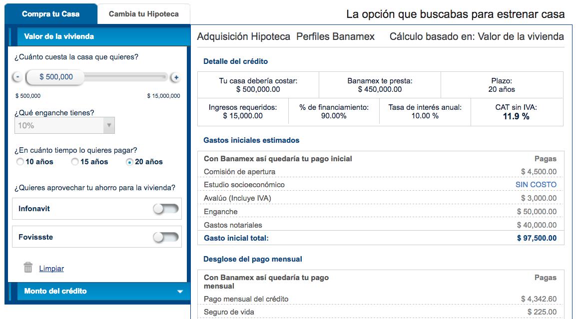 Hipoteca perfiles Banamex: comparador