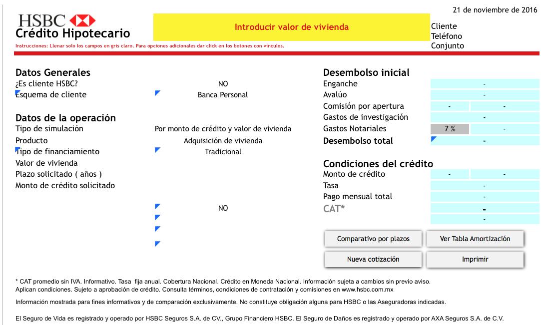 HSBC simulador crédito hipotecario