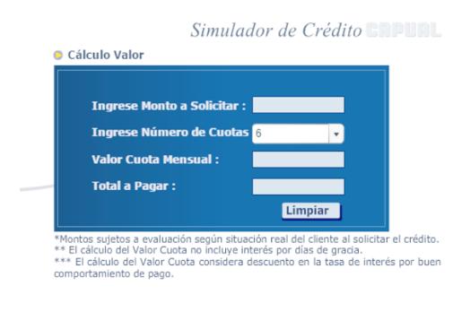 Capual: Simulador Crédito