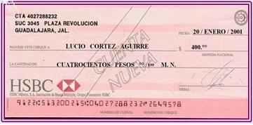 Cheque nominativo 1 foro