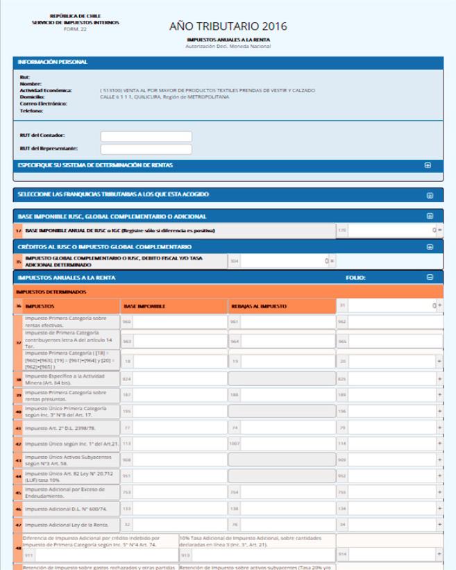 Impuesto Global Complementario: Formulario 22