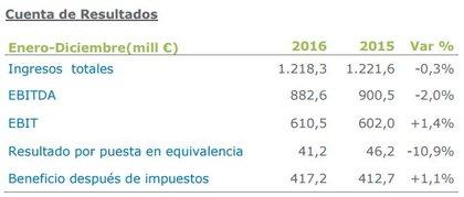 Cuenta de Resultados Enagas 2016