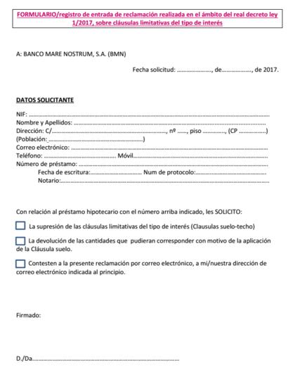 Bankia y bmn devolver n la cl usula suelo sin seguir los for Reclamacion hipoteca suelo