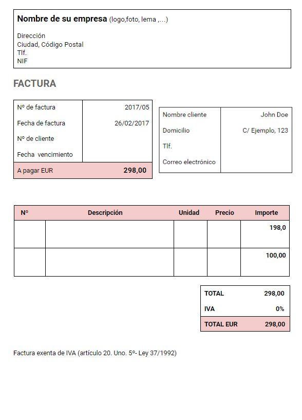 Modelo factura sin IVA para autónomos y pymes
