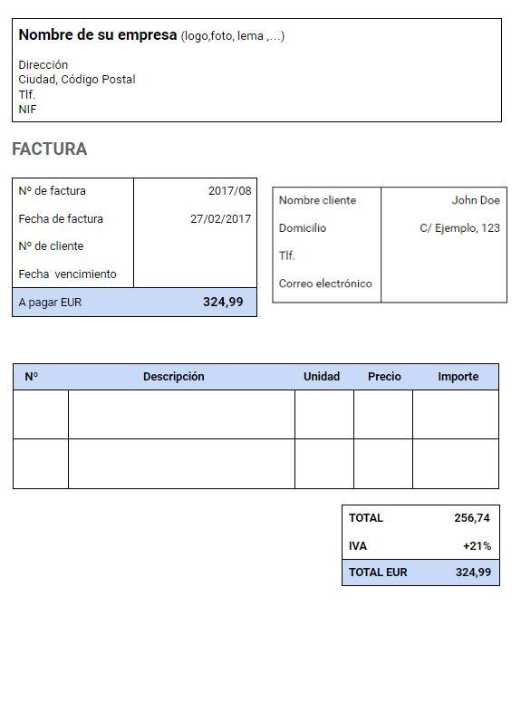 Modelo factura con IVA para autónomos y pymes