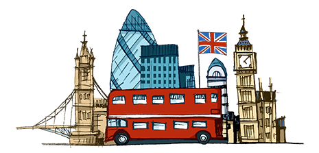 Cartoon of English monuments and attractions.