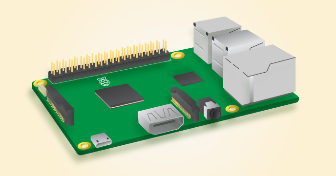 Raspberry Pi with pins highlighted