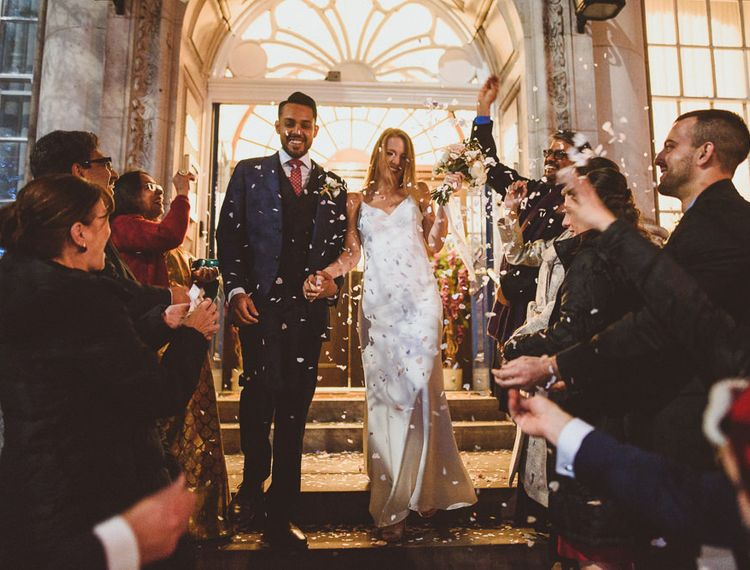 That confetti moment at London Town Hall Wedding