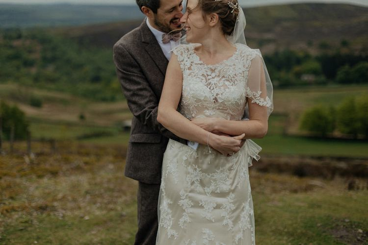 Townfield Barn Wedding Venue With Vintage Tea Theme Lace Maggie Sottero Wedding Dress And Groomsmen In Tweed Suits