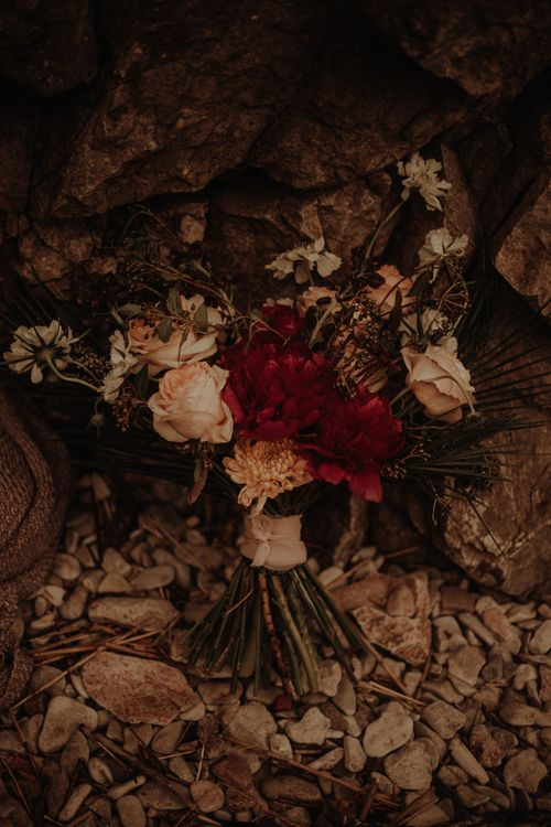 Red and blush wedding bouquet by Wildfire floral co