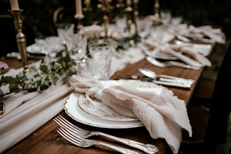hand-dyed napkins at vintage place settings