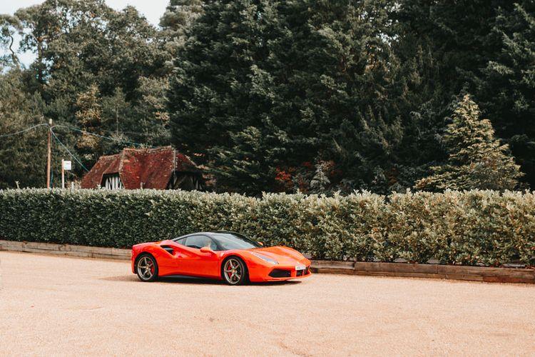 Red sports wedding car